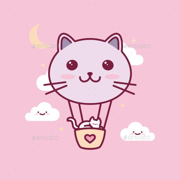 Cat Balloon Kawaii Illustration