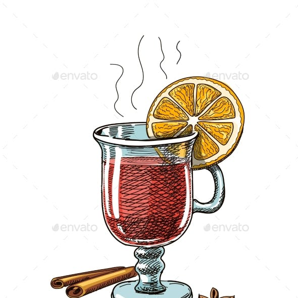 Illustration with Hand Drawn Mulled Wine
