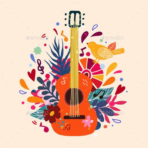 Guitar Flat Hand Drawn Vector Illustration