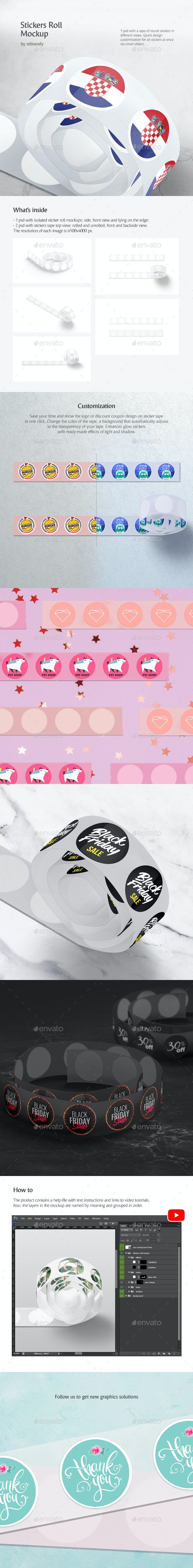 Stickers Roll Mockup - Product Mock-Ups Graphics