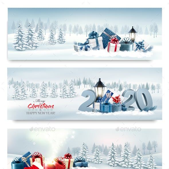 Holiday Christmas Banners Vector