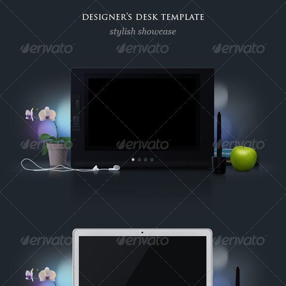 LCD Graphics Tablet and Laptop Mock Up