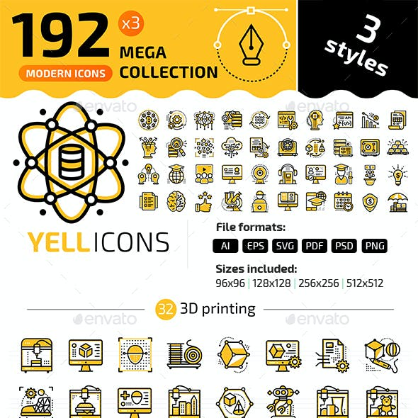 192+ Icons Bundle — YELLICONS