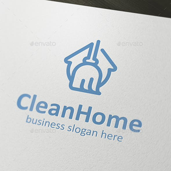 Clean Home Logo of House Form and Broom