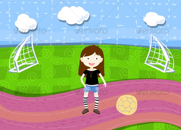 vector girl with football on the pattern ground - People Characters