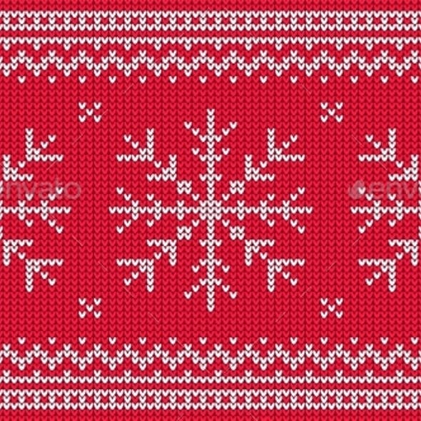 Knitted Pattern with White Snowflake