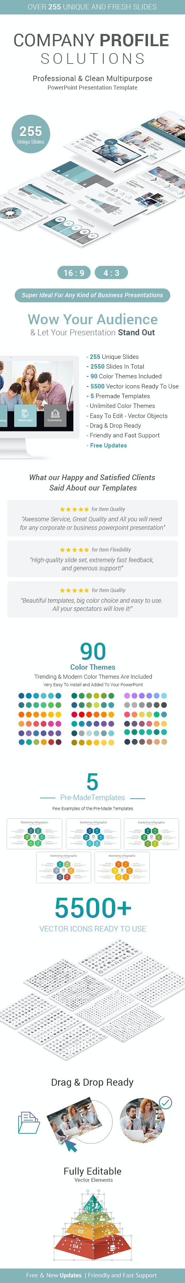 Stunning Company Profile PowerPoint Presentation Template - Business PowerPoint Templates