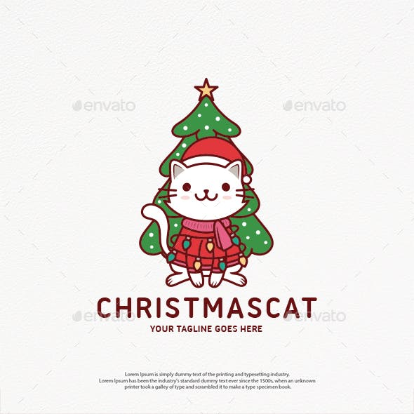 Cute Christmas Cat Logo