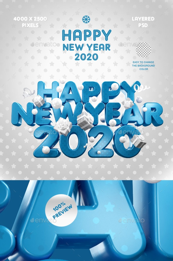 Happy New Year 2020 / Сolor Of The Year - 3D Backgrounds