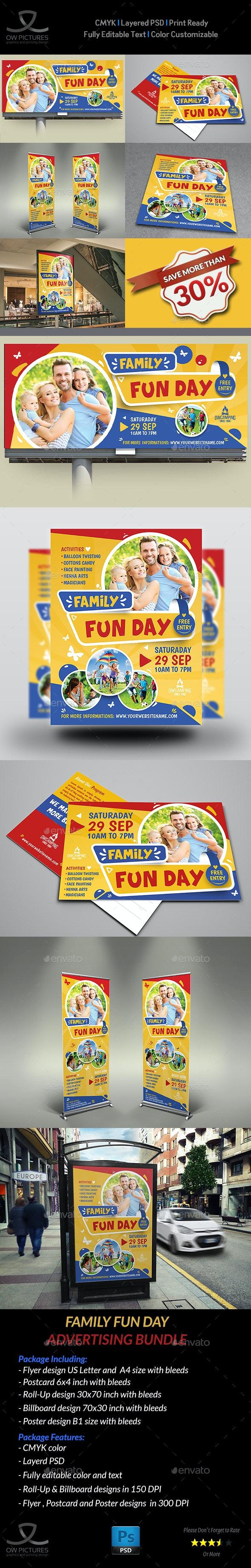 Family Fun Day Advertisng Bundle - Signage Print Templates