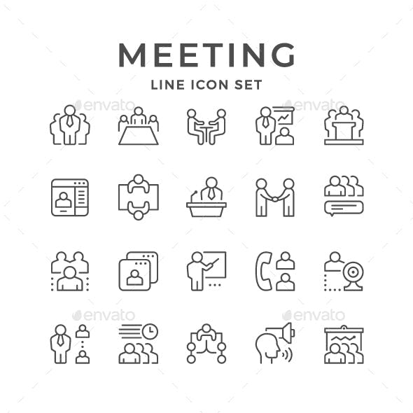 Set Line Icons of Meeting