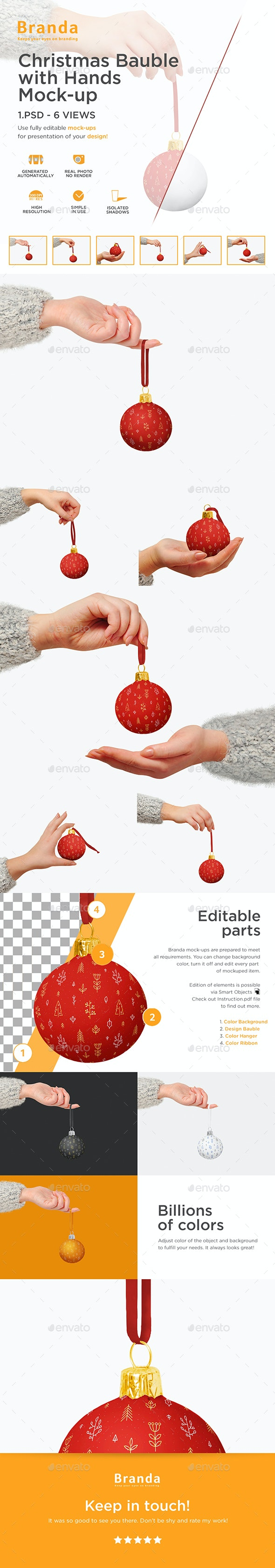 Christmas Bauble with Hands Mock-up