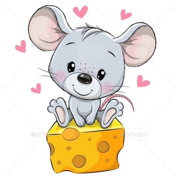 Cartoon Mouse Sitting On Cheese