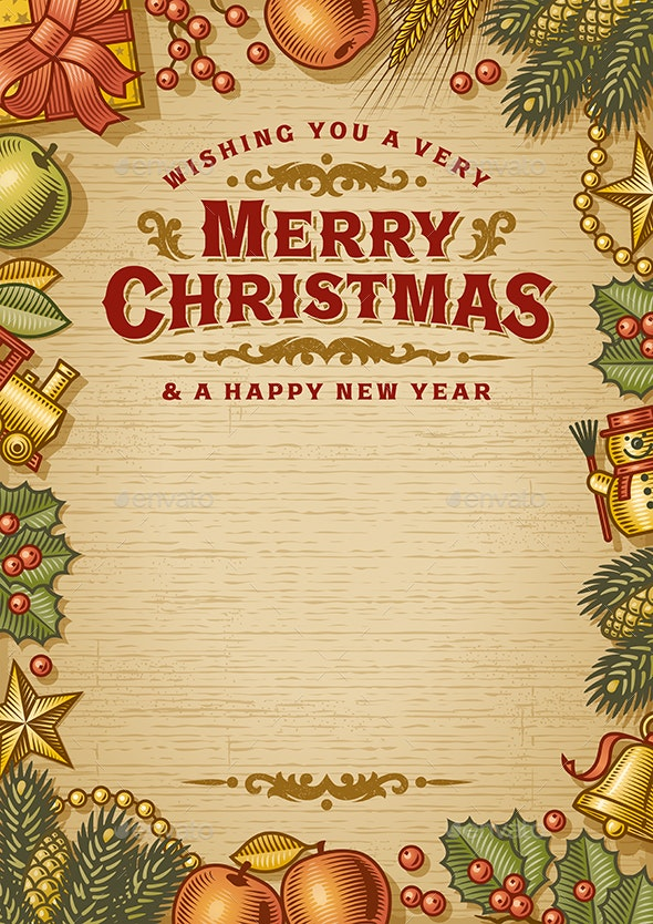 vintage merry christmas greeting card with copy space by iatsun graphicriver https graphicriver net item vintage merry christmas greeting card with copy space 25236891