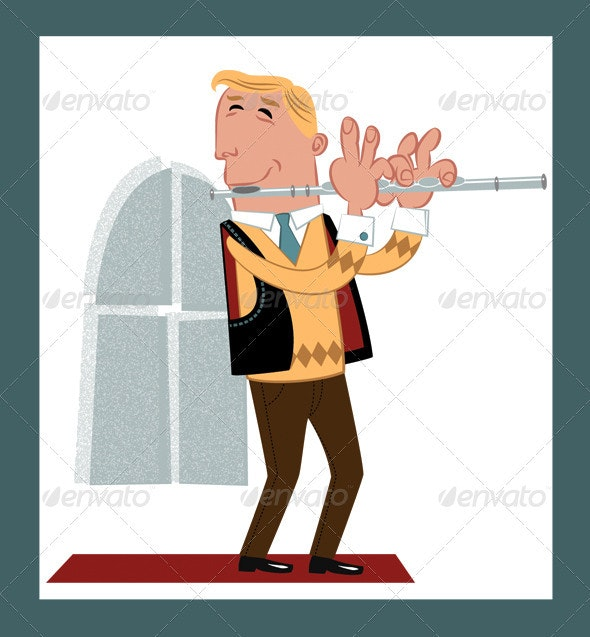 Flute Player/Flautist - Retro Cartoon Style - People Characters
