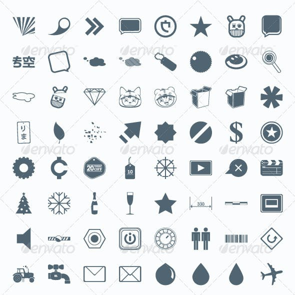 206 vector icons, signs, symbols and pictograms