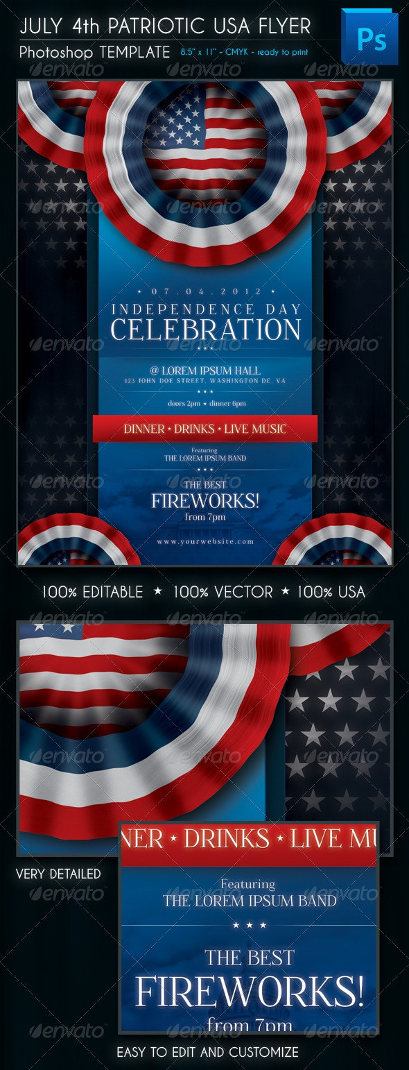 July 4th Patriotic USA Flyer - Flyers Print Templates