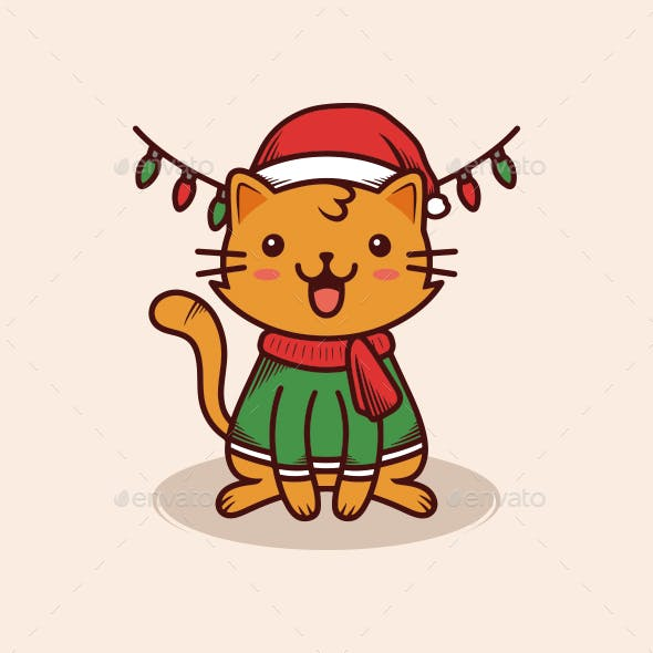 Christmas Cat Illustration