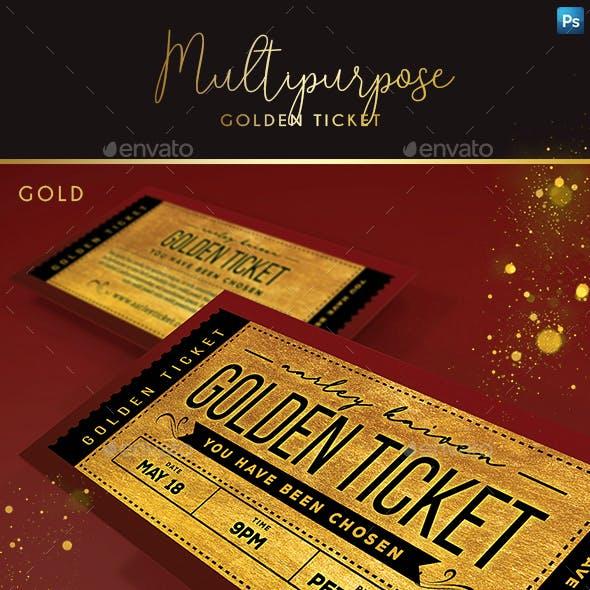 Multipurpose Golden Ticket Invitation