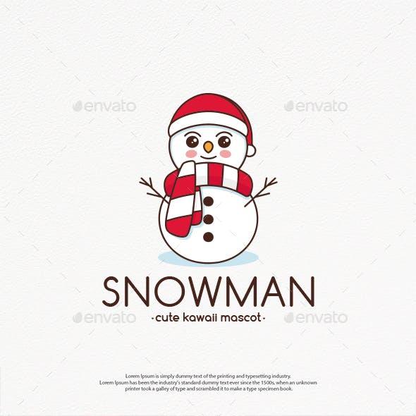 Snowman Cute Kawaii Logo