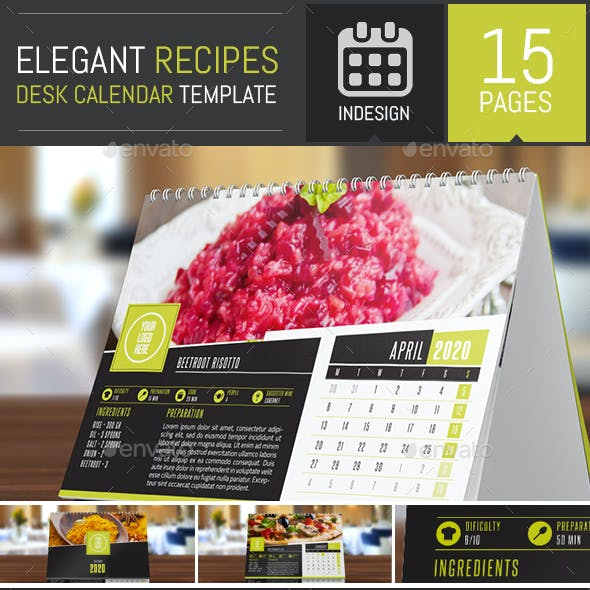 Elegant Recipes 2020 Desk Calendar Template