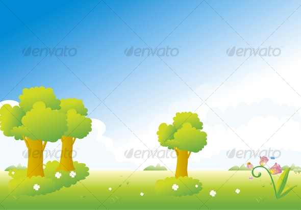 trees and flowers - Backgrounds Decorative