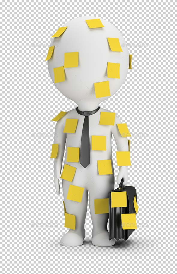 3D Small People - Stick Notes - Characters 3D Renders