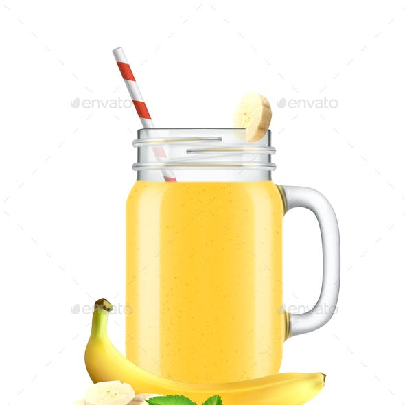 Realistic Banana Smoothie Composition