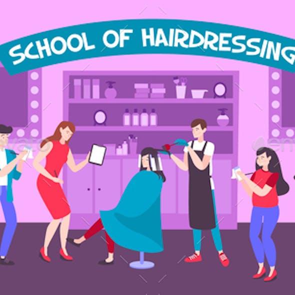 School of Hairdressing Vector Illustration