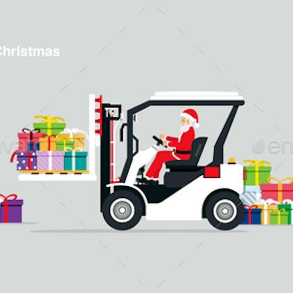 Santa Driving Forklift