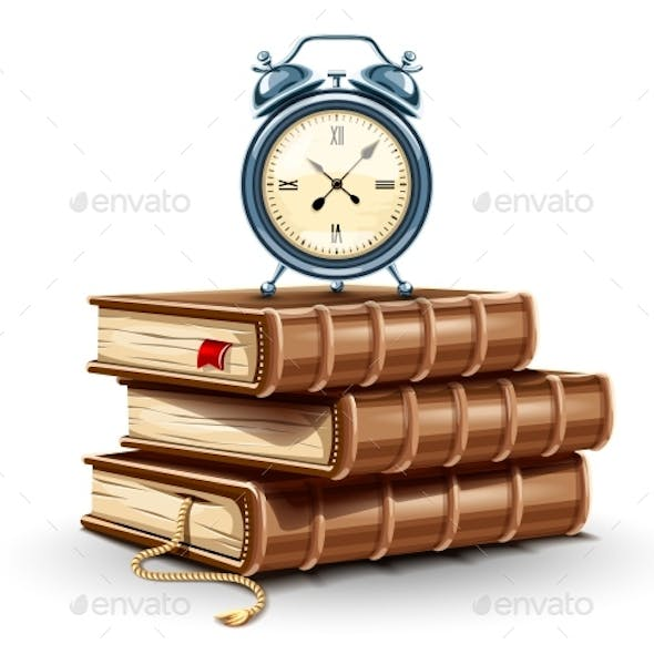 Classic Alarm Clock on Pile Stack of Paper Books