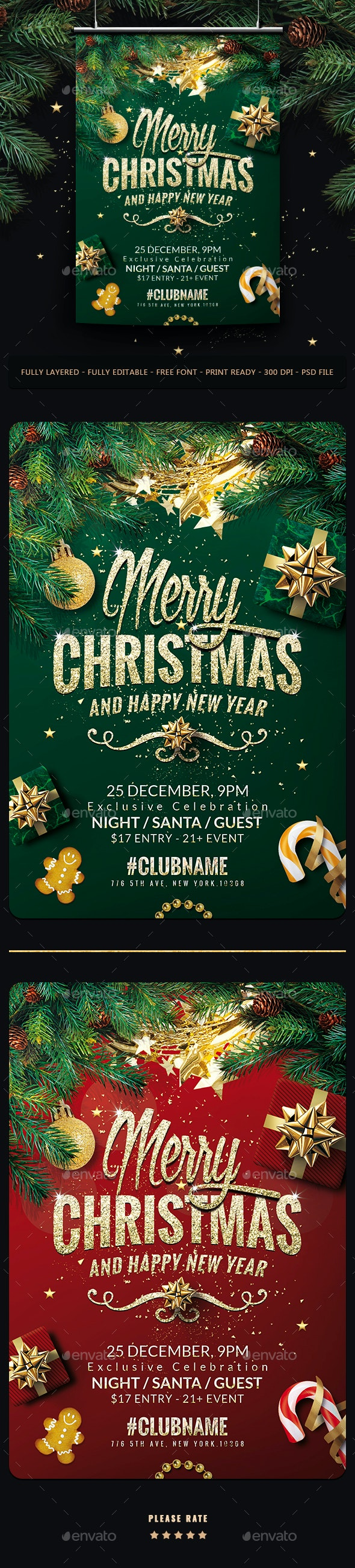 Merry Christmas Flyer Template - Events Flyers
