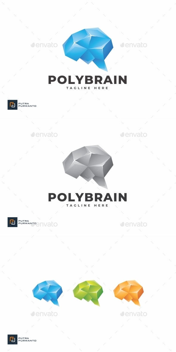 Polygon Brain - Logo Template - Abstract Logo Templates