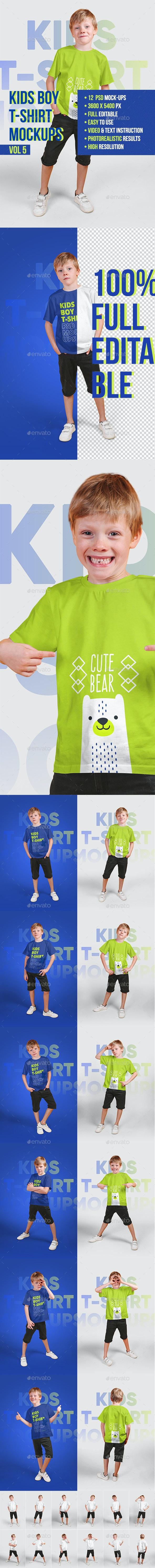 Kids Boy T-Shirt Mockups Vol5 - T-shirts Apparel