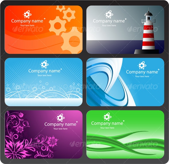 Set of colorful business cards - Characters Vectors