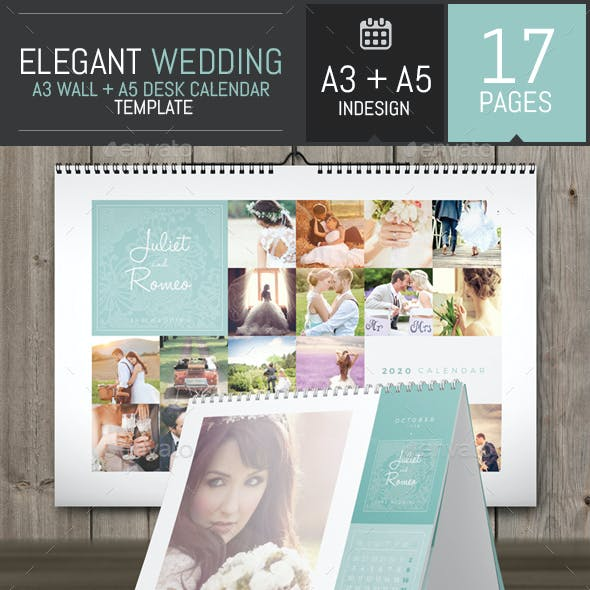 Wedding A3 Wall + A5 Desk 2020 Calendar Template
