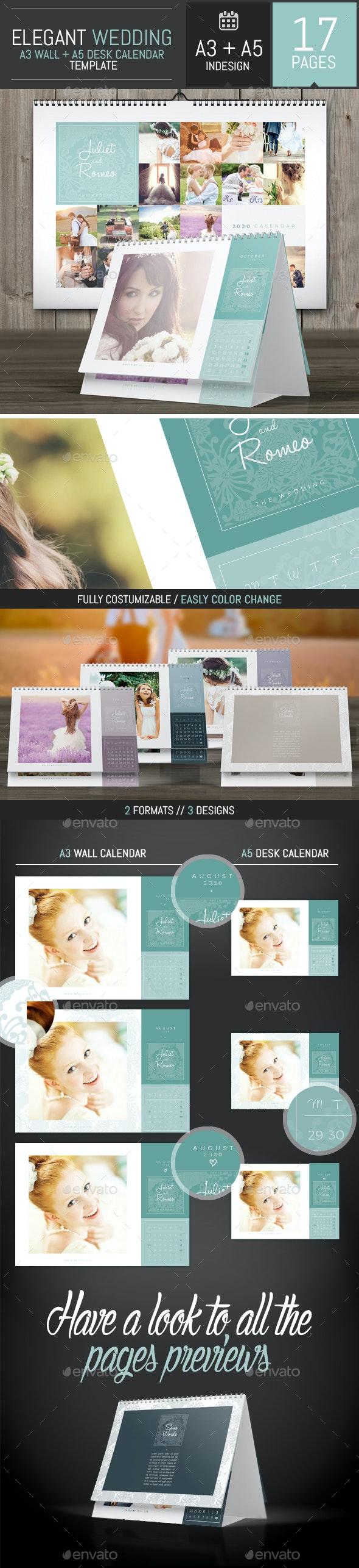 Wedding A3 Wall + A5 Desk 2020 Calendar Template - Calendars Stationery