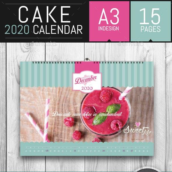 Vintage Cake 2020 Horizontal Calendar Template