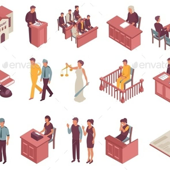 Justice Isometric Icons