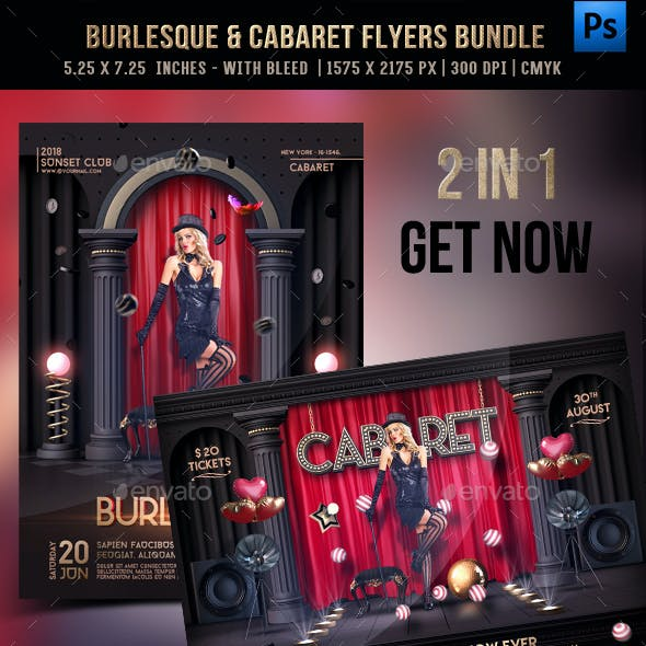 Burlesque & Cabaret Flyer Bundle