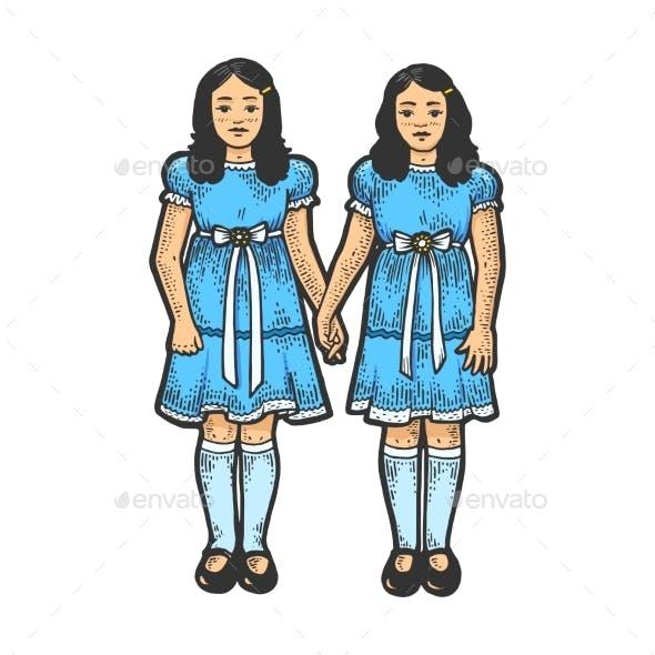 Twins Girls Like Sketch Engraving Vector