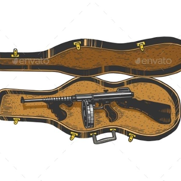 Thompson Gun Violin Case Sketch Engraving Vector