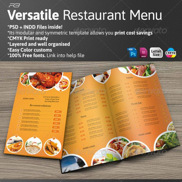Versatile Restaurant Menu