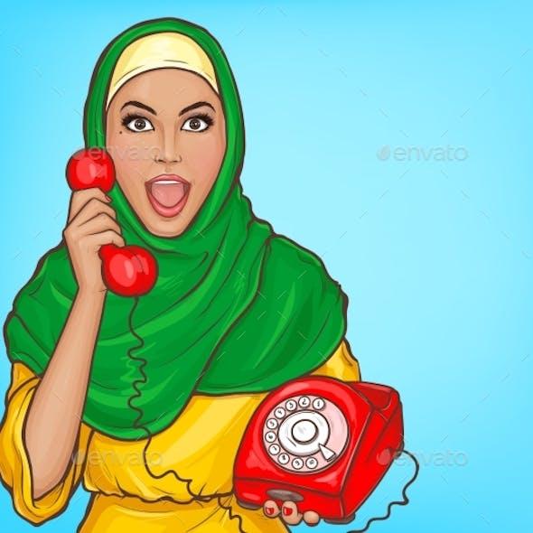 Arabic Woman in Hijab Talking on Vintage Phone