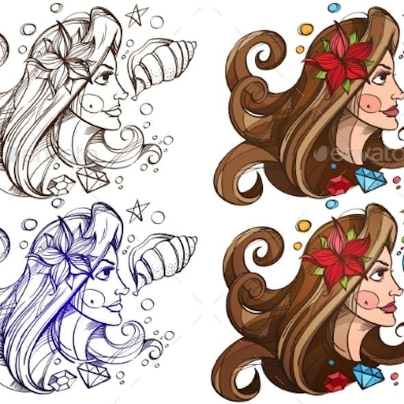 Set of Color and Outline Illustration