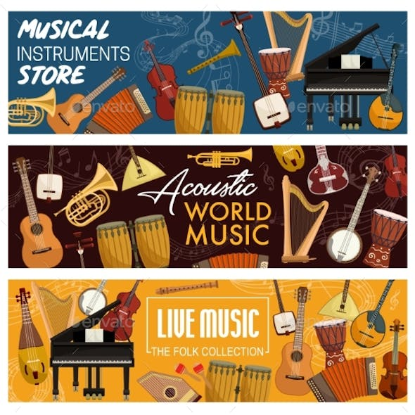 Orchestra Acoustic Retro Musical Instruments