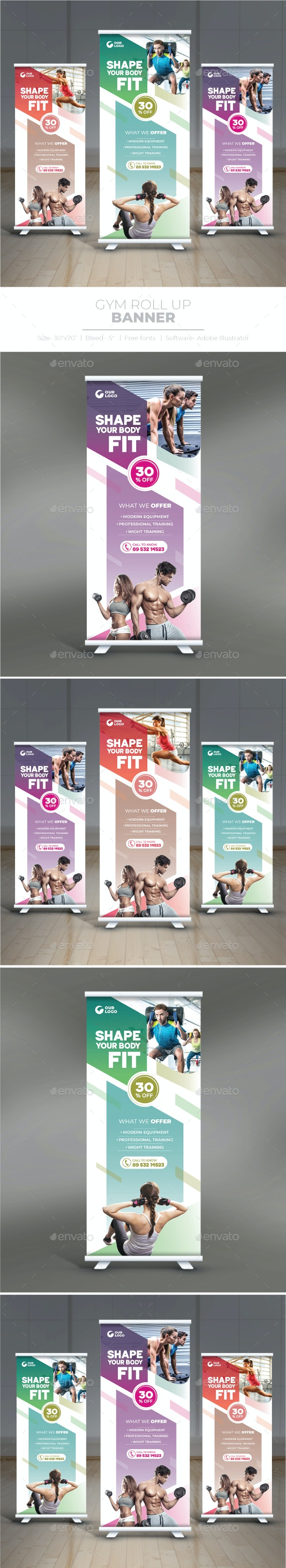 Gym Roll Up Banner - Miscellaneous Print Templates