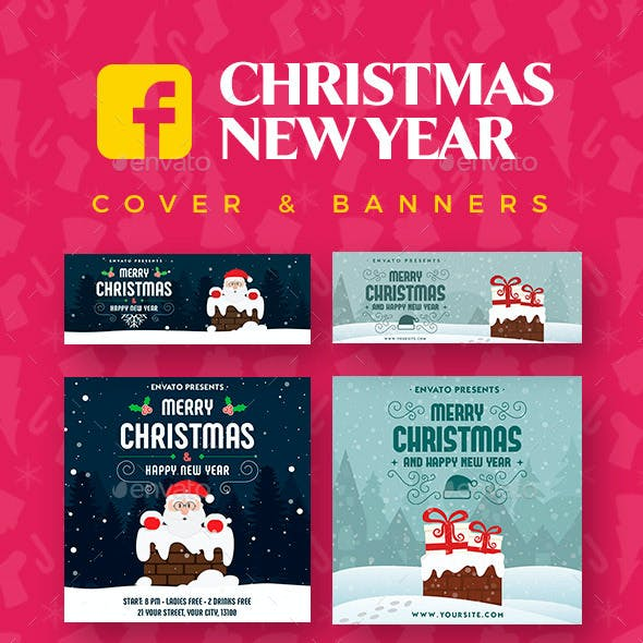 Christmas New Year Facebook Cover & Banners