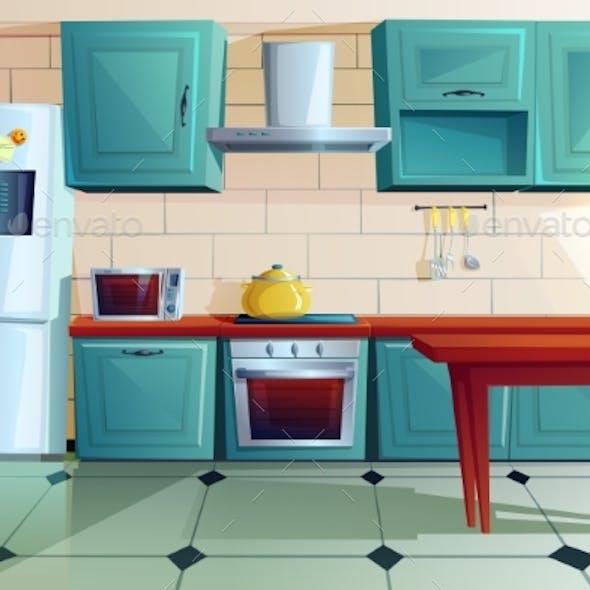 Kitchen Interior Witn Wooden Furniture Cartoon