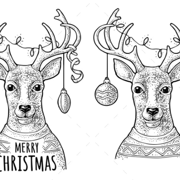 Deer with Christmas Garland Dressed in Sweater